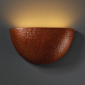 Ambiance Hammered Copper Pocket Two-Light Bathroom Wall Sconce