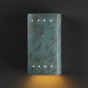 Ambiance Verde Patina Small Rectangle With Perfs Bathroom Wall Sconce