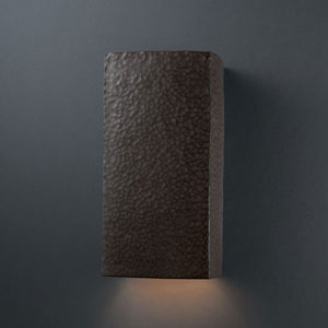 Ambiance Hammered Iron Large Rectangle Bathroom Wall Sconce
