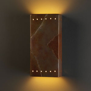 Ambiance Tierra Red Slate Large Rectangle With Perfs Two-Light Bathroom Wall Sconce