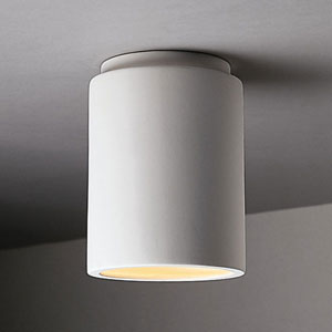 Radiance Matte White Cylinder Outdoor Flush-Mount