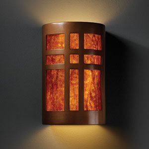 Ambiance Antique Copper Large Cross Window Two-Light Bathroom Wall Sconce