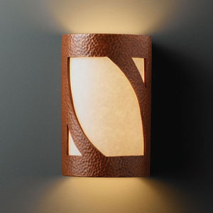 Ambiance Hammered Copper Large Lantern Two-Light Bathroom Wall Sconce