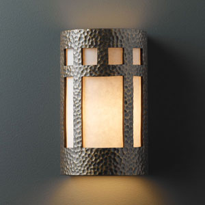 Ambiance Hammered Brass Small Prairie Window Bathroom Wall Sconce