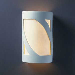 Ambiance Gloss White Large Prairie Window Two-Light Bathroom Wall Sconce