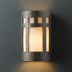 Ambiance Hammered Brass Large Prairie Window Outdoor Wall Sconce