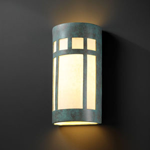 Ambiance Verde Patina Really Big Prairie Window Two-Light Bathroom Wall Sconce