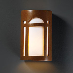 Ambiance Rust Patina Large Arch Window Outdoor Wall Sconce
