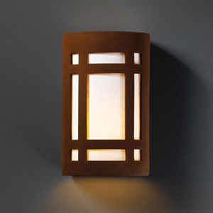 Ambiance Real Rust Small Craftsman Window Outdoor Wall Sconce