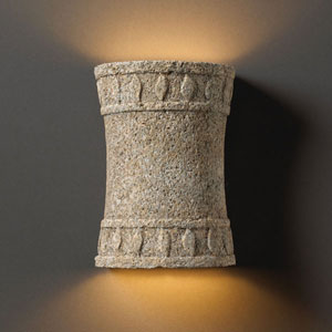 Tuscan Garden Mocha Travertine Hourglass Cylinder Sconce With Flame Design Bathroom Wall Sconce