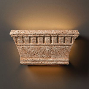 Tuscan Garden Bisque Wide Rectangle Sconce With Dentil Design Two-Light Bathroom Wall Sconce