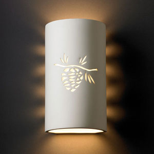 Sun Dagger Bisque Sun Dagger Large Cylinder Two-Light Bathroom Wall Sconce