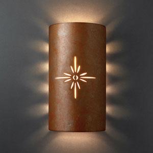 Sun Dagger White Crackle Sun Dagger Large Cylinder Two-Light Bathroom Wall Sconce Sunburst Cut-Out