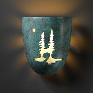 Sun Dagger Verde Patina Sun Dagger Small Pocket Bathroom Wall Sconce Trees Cut-Out