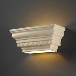 Ambiance Gloss White Rectangular Dentil Molding With Glass Shelf Bathroom Wall Sconce