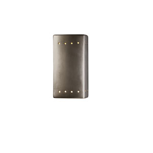 Ambiance Antique Silver 4.5-Inch LED Small Rectangular Wall Sconce with Perforations and Opened Top and Bottom
