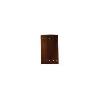 Ambiance Real Rust 4.5-Inch LED Small Cylindrical Outdoor Wall Sconce with Perforations and Closed Top