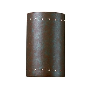 Ambiance Antique Copper 4.5-Inch LED Small Cylindrical Wall Sconce with Perforations and Opened Top and Bottom