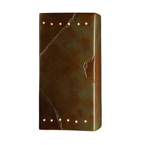 Ambiance Real Rust 6.5-Inch LED Large Rectangular Wall Sconce with Perforations and Opened Top and Bottom