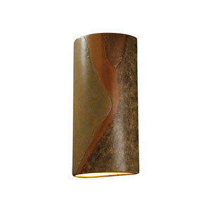 Ambiance Harvest Yellow Slate LED Big Cylindrical Wall Sconce with Closed Top