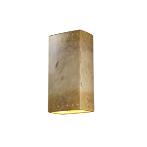 Ambiance Greco Travertine LED Big Rectangular Wall Sconce with Perforations and Opened Top and Bottom
