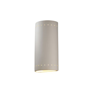 Ambiance Antique Copper LED Big Cylindrical Outdoor Wall Sconce with Perforations and Opened Top and Bottom