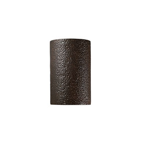Ambiance Hammered Iron 6.25-Inch LED Large Cylindrical Outdoor Wall Sconce with Closed Top