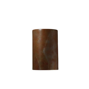 Ambiance Tierra Red Slate LED Large Cylindrical Outdoor Wall Sconce with Opened Top and Bottom