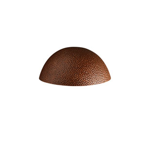 Ambiance Hammered Copper LED Large Quarter Spherical Outdoor Wall Sconce