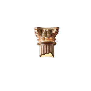 Ambiance Agate Marble LED Corinthian Column Outdoor Wall Sconce with Bottom Opened