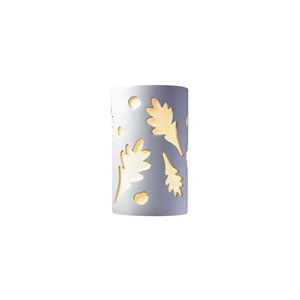 Ambiance Bisque 4-Inch LED Large Oak Leaves Wall Sconce with White Styrene Shade