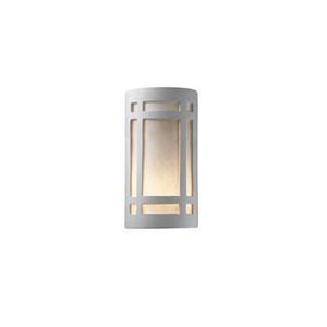 Ambiance Antique Silver 4-Inch LED Large Craftsman Window Wall Sconce with White Styrene Shade