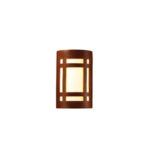 Ambiance Hammered Copper 4-Inch LED Large Craftsman Window Wall Sconce with White Styrene Shade