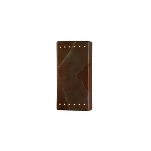 Ambiance Granite 4-Inch LED Large Rectangular Wall Sconce with Perforations and Opened Top and Bottom