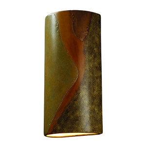 Ambiance Harvest Yellow Slate 6.75-Inch LED Big Cylindrical Wall Sconce with Opened Top and Bottom