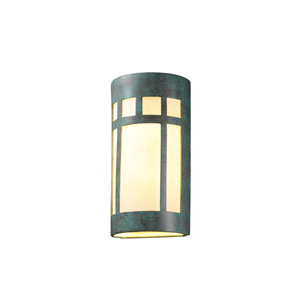 Ambiance Antique Gold LED Big Prairie Window Wall Sconce with White Styrene Shade