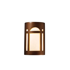 Ambiance Mocha Travertine 4.5-Inch LED Small Arch Window Wall Sconce with White Styrene Shade