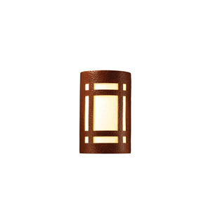Ambiance Hammered Copper 4.5-Inch LED Small Craftsman Window Wall Sconce with White Styrene Shade