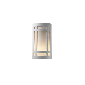 Ambiance Bisque 6.25-Inch LED Large Craftsman Window Wall Sconce with White Styrene Shade