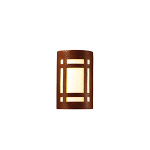 Ambiance Hammered Copper 6.25-Inch LED Large Craftsman Window Wall Sconce with White Styrene Shade