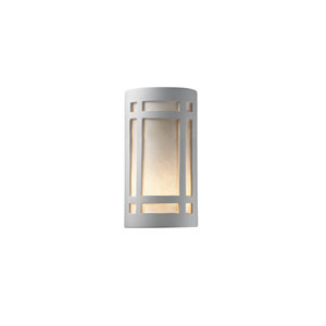 Ambiance Navarro Sand 6.25-Inch LED Large Craftsman Window Outdoor Wall Sconce with White Styrene Shade
