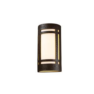 Ambiance Hammered Iron LED Big Craftsman Window Wall Sconce with White Styrene Shade