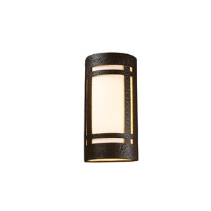Ambiance Hammered Iron LED Big Craftsman Window Outdoor Wall Sconce with White Styrene Shade