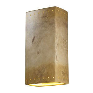Ambiance Greco Travertine LED Big Rectangular Wall Sconce with Perforations and Closed Top