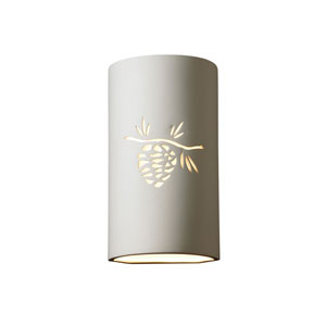 Sun Dagger Bisque LED Large Cylindrical Wall Sconce with Pine Cone Cutout
