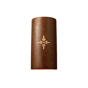 Sun Dagger Sienna Brown Crackle LED Big Cylindrical Wall Sconce
