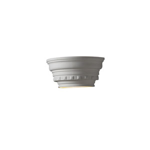 Ambiance Bisque LED Curved Dentil Molding Wall Sconce with Glass Shelf