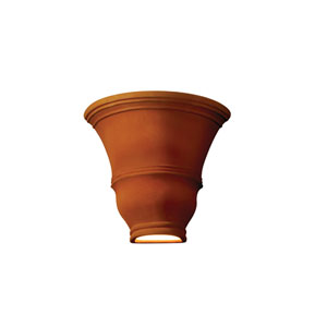 Ambiance Real Rust LED Tall Curved Wall Sconce with Opened Top and Bottom