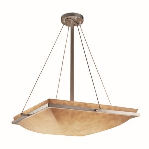 Clouds Brushed Nickel LED 24-Inch Square Bowl Pendant with Ring