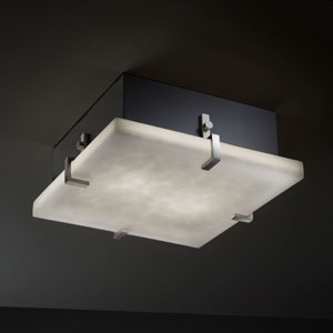 Clouds Clips 12-Inch Two-Light Fluorescent Brushed Nickel Square Flush-Mount